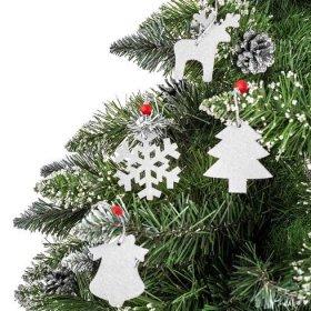 Vánoční látkové závěsné ozdoby na stromeček 16 ks - bílé