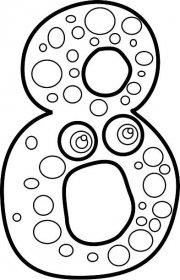 Omalovánka, obrázek Číslo 8 - Znaky - k vytisknutí, pro děti k vybarvení zdarma, online ke stažení a vytištění