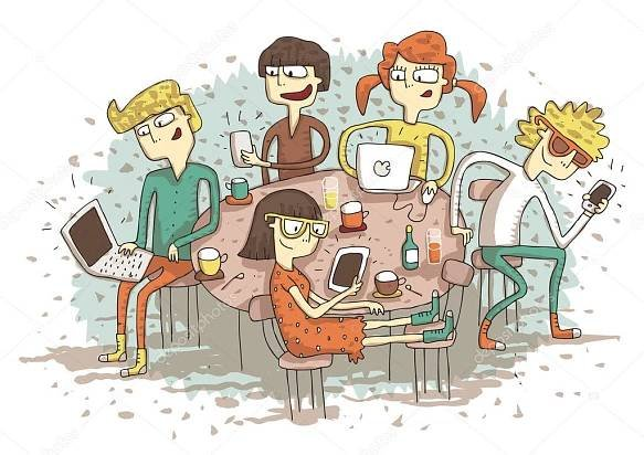 Download - Global village cartoon with a group of youngsters playing with t — Stock Illustration